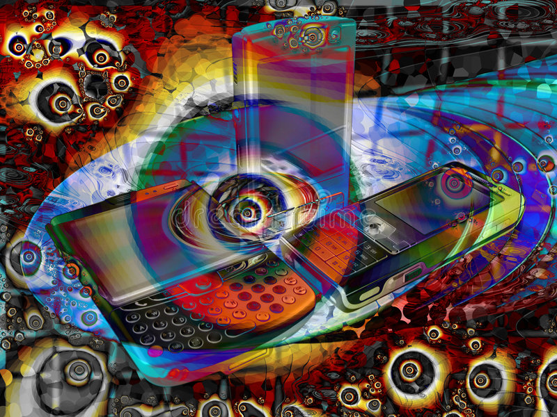Bright Psychedelic Mobile Phone Abstract. Background stock illustration