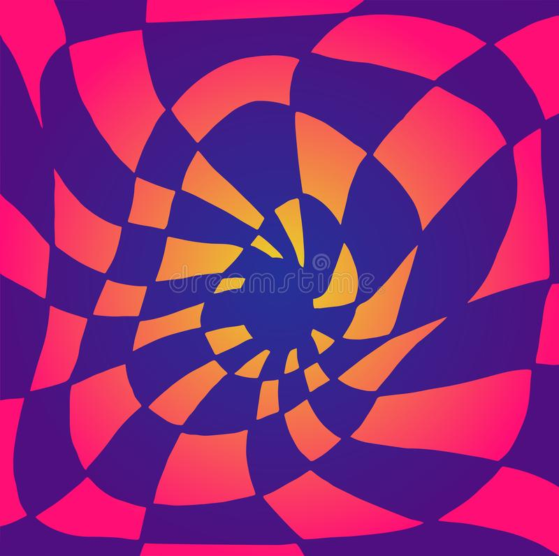 Bright psychedelic twisted abstract, divided into purple and pink, orange squares, gradient colors. Illusion surreal stock illustration