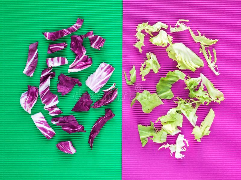 Bright purple and green lettuce salad leaves composition royalty free stock photo
