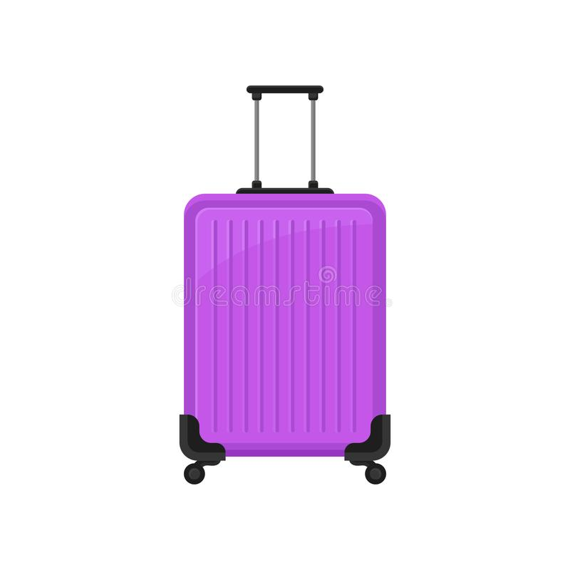 Bright purple polycarbonate suitcase on spinner wheels. Flat vector icon of travel bag with telescopic handle. Luggage vector illustration