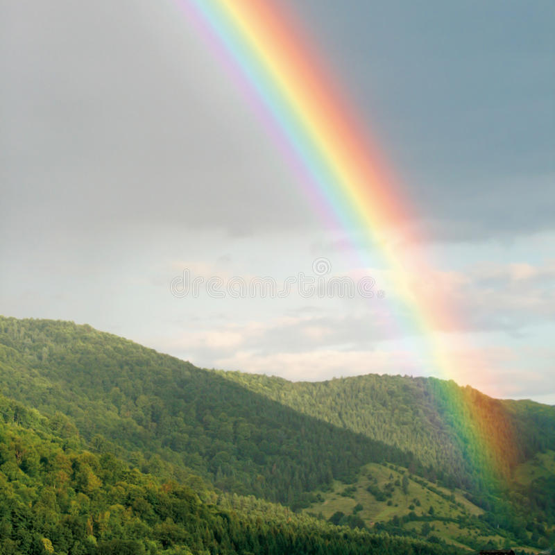 Download Bright rainbow stock photo. Image of plain, field, green - 17732538