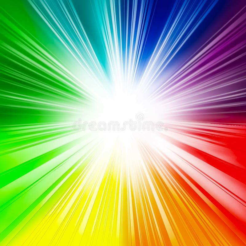 Bright rainbow background, rays, flash, white center, rays from the center, fun, rainbow colors, holiday, colorful background,. Abstract  background  beam  blue stock illustration