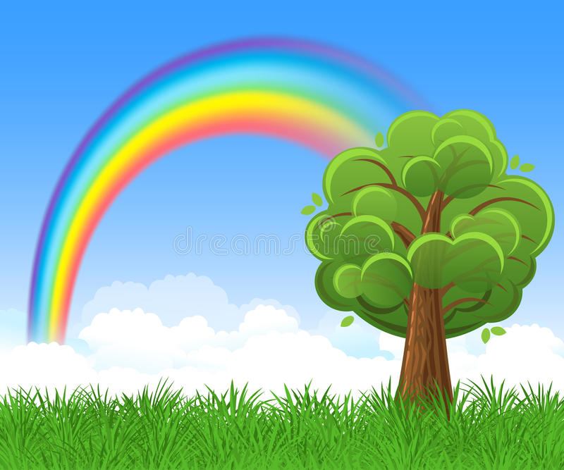 Bright rainbow with blue sky, tree and green grass. Vector royalty free illustration
