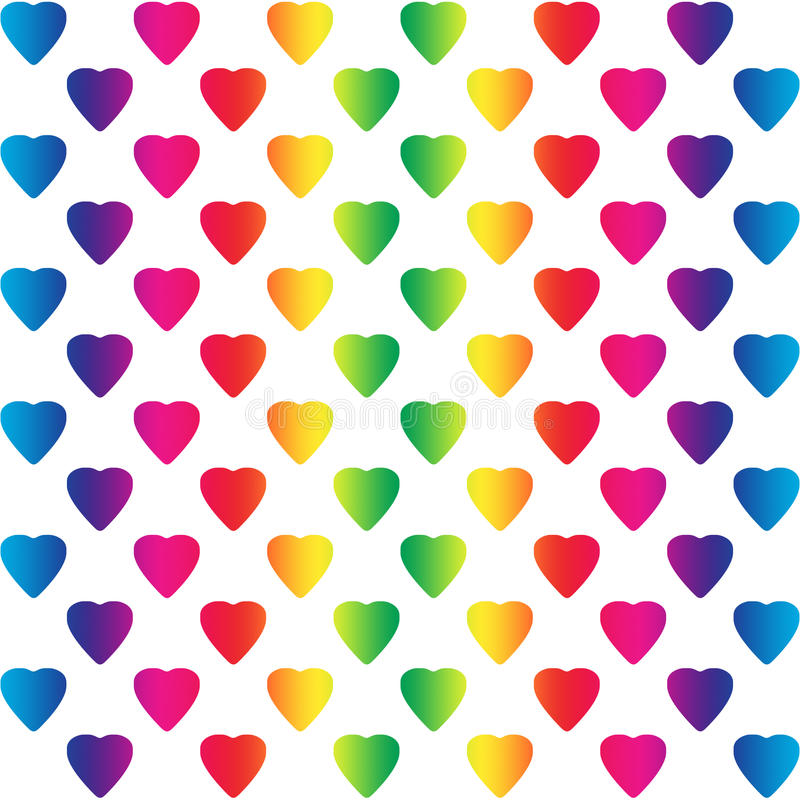 Bright rainbow colored hearts on white. A seamless pattern royalty free illustration