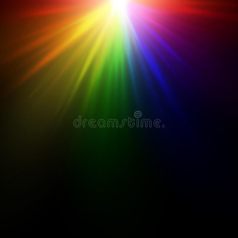 Bright rainbow flash. Bright rainbow glow on a black background. A multicolored explosion of paints vector illustration