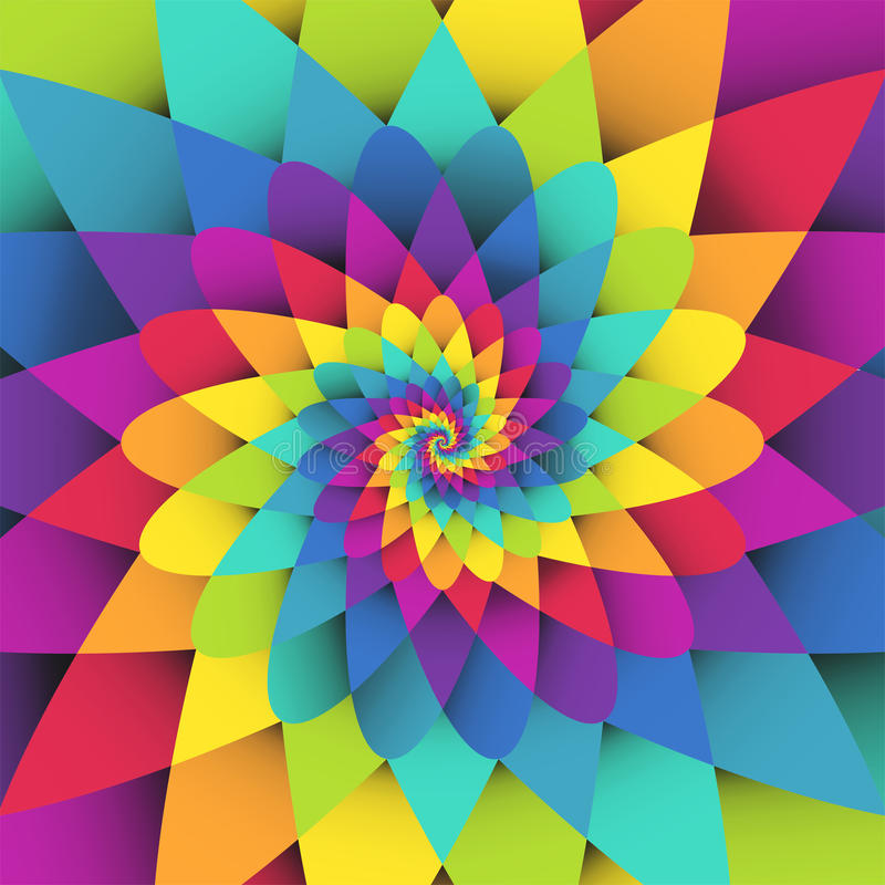 Bright rainbow spiral psychedelic background stock illustration