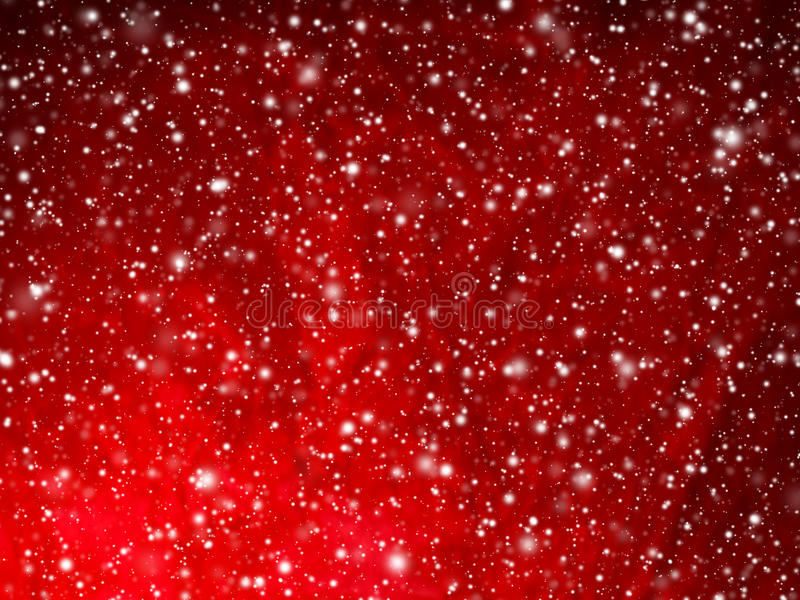 Bright red abstract Christmas background with falling snow stock image