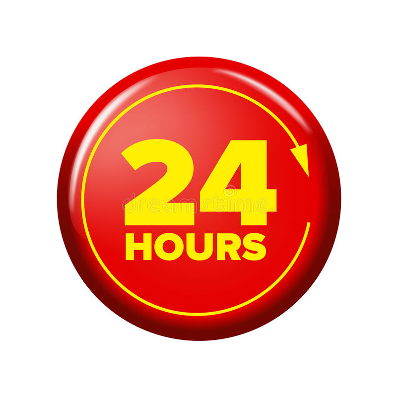 Bright red button with words `24 hours` and arrow. Work time circle label for posters and banners. Day and night open tag. Design element on white background stock illustration