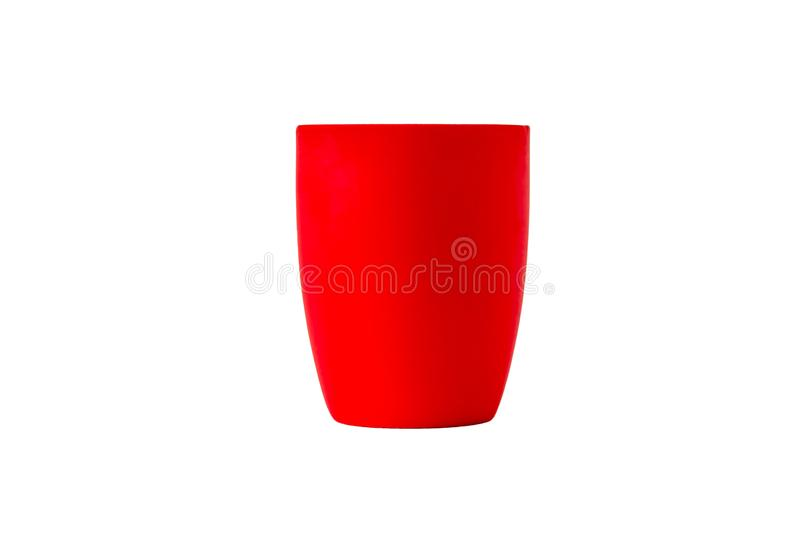 Bright red ceramic glass isolated on a white background stock photography