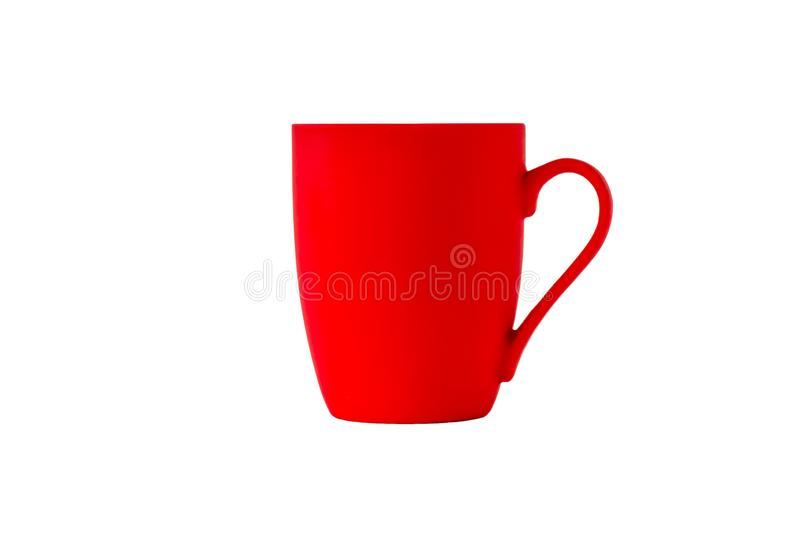 Bright red ceramic mug with handle isolated on white background royalty free stock photos