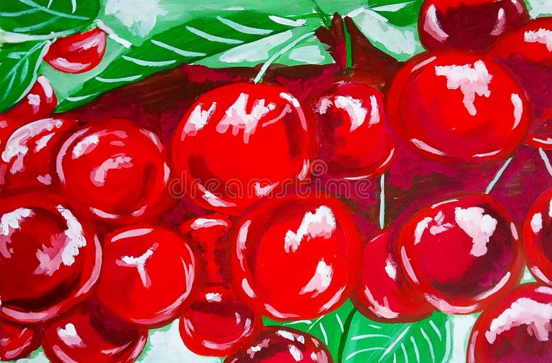 Bright red cherry with green leaves. Fruit, guashe, watercolor, oil, paper royalty free illustration