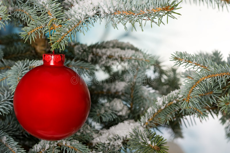 Bright red Christmas bauble royalty free stock photography