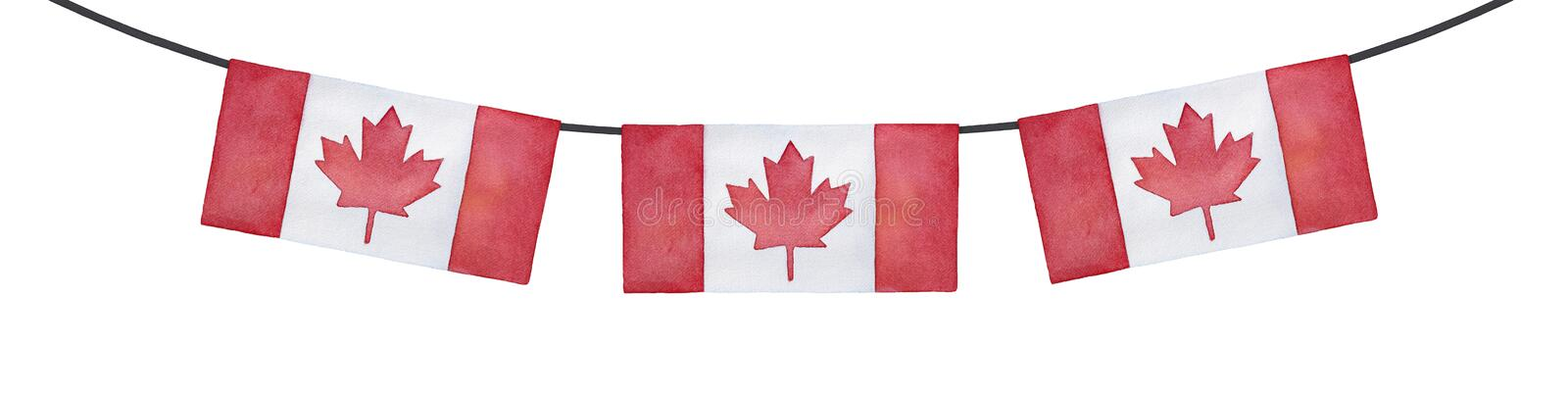 Horizontal bunting decoration with flag of Canada. Bright red colour, rectangular shape. Handdrawn watercolour drawing on white, cut out clip art element for royalty free illustration
