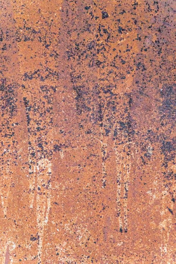 Bright red completely rusty background on metal stock photos