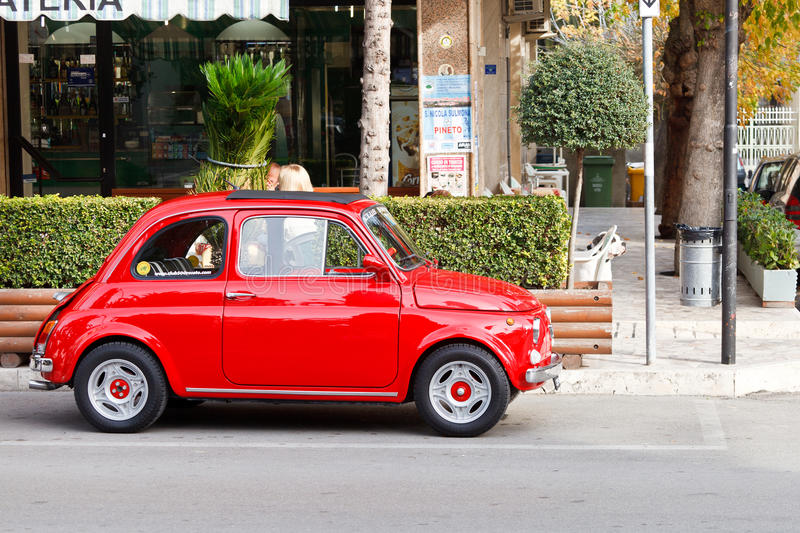 Download Bright Red Fiat 500 editorial stock image. Image of road - 21405569