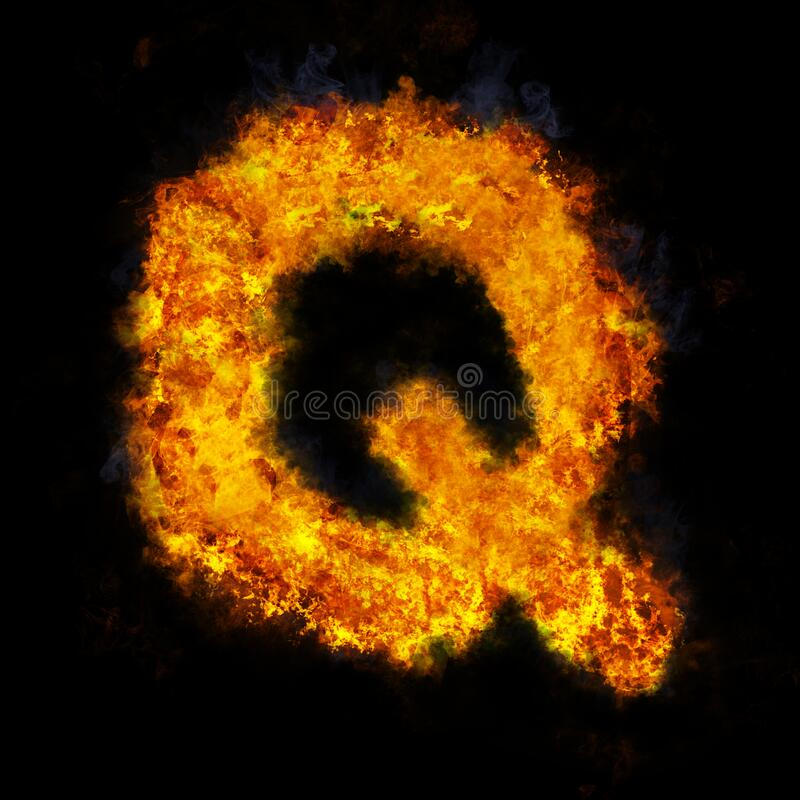 Letter Q flame explosion shape font royalty free stock image