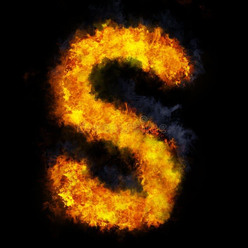 Letter S flame explosion shape font stock image