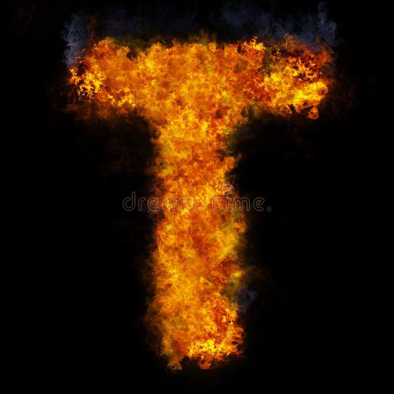 Letter T flame explosion shape font stock photos