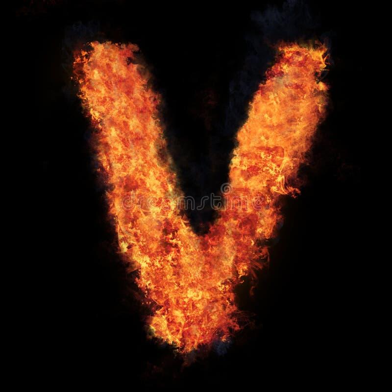 Letter V flame explosion shape font stock image
