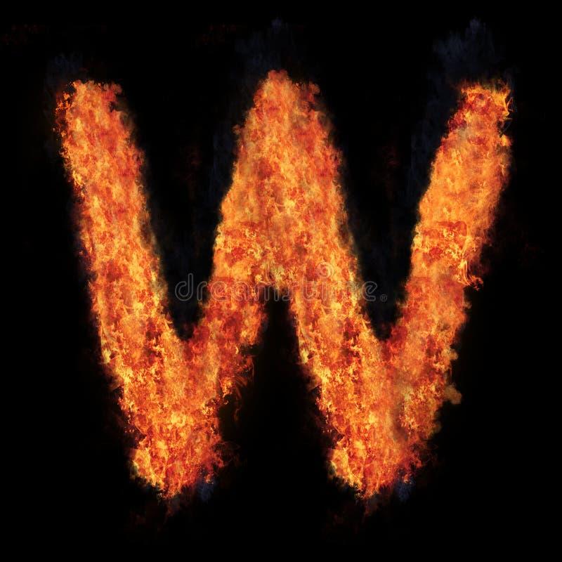 Letter W flame explosion shape font stock images