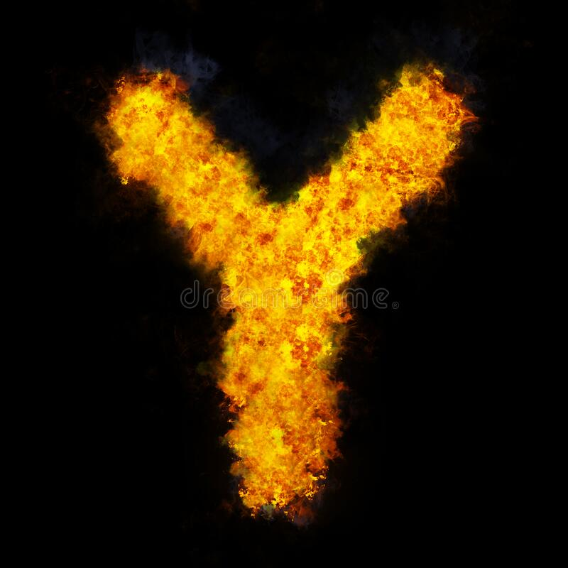 Letter Y flame explosion shape font royalty free stock photos