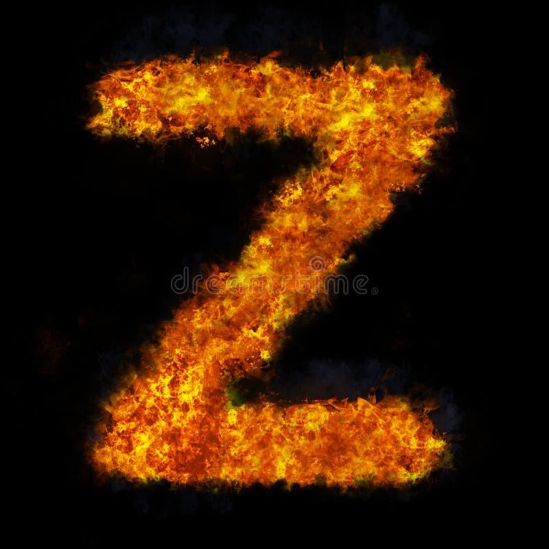 Letter Z flame explosion shape font stock photo
