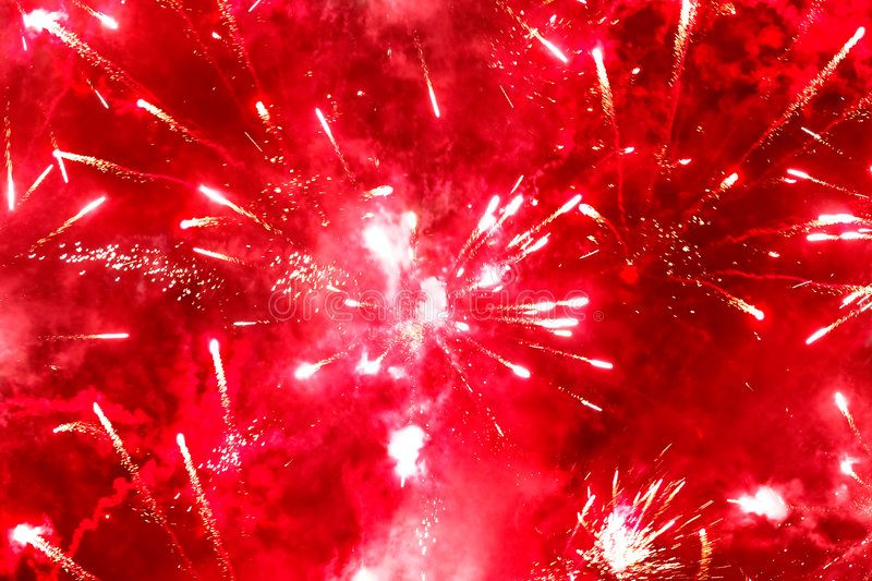 Red Fireworks Free Stock Photo: Bright Red Firework Stock Photo. Image Of Abstract