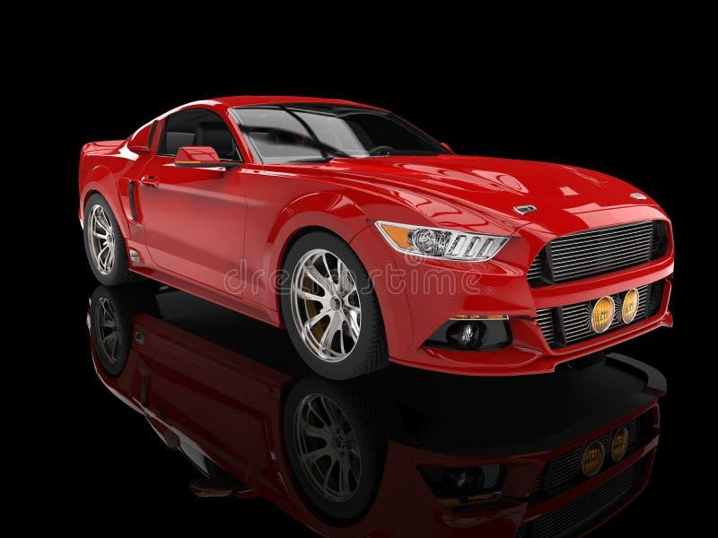 Bright red modern american car on black background vector illustration