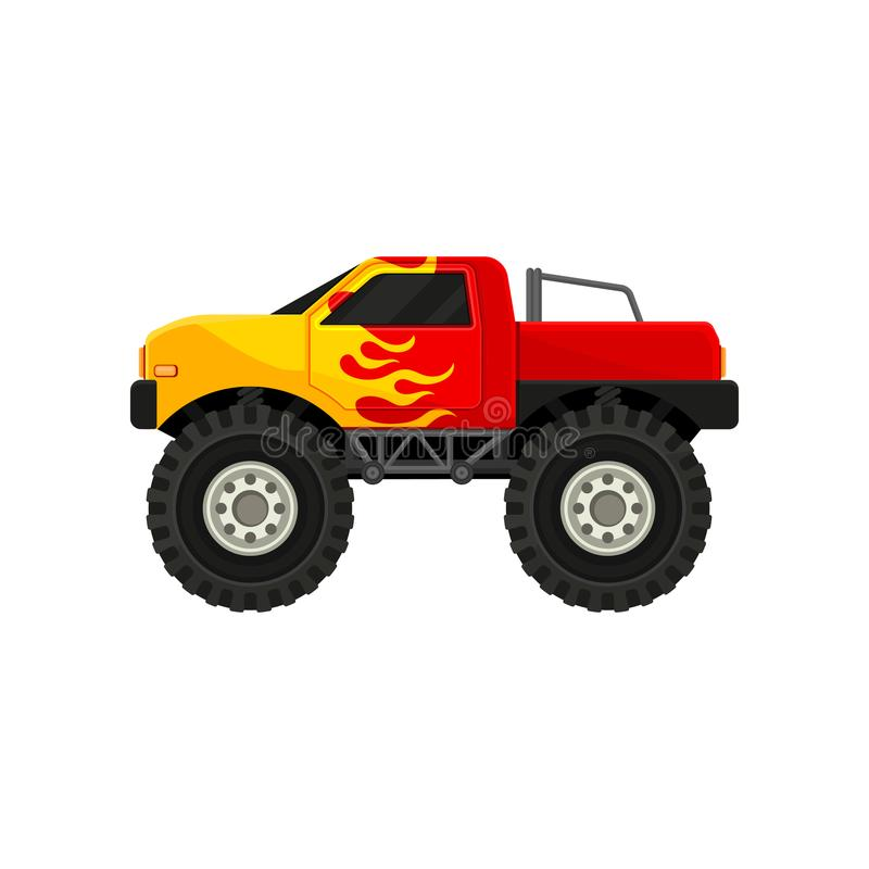 Bright red monster truck with yellow flame decal. Heave car with large tires and black tinted windows. Flat vector icon. Bright red monster truck with yellow royalty free illustration