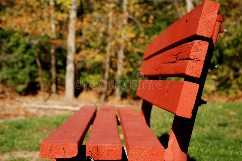 Bright Red Park Bench stock photography
