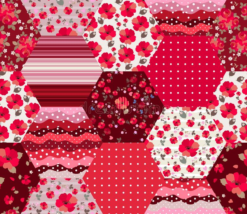 Bright red patchwork pattern with floral and geometric ornaments. Seamless design in country style. Print for fabric.  stock illustration