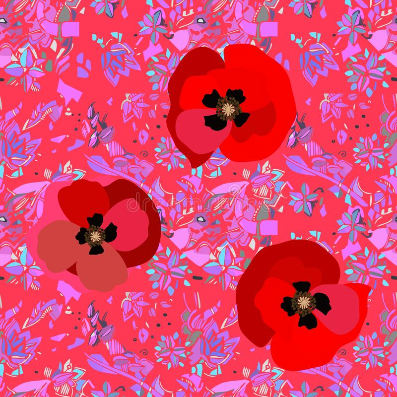 Bright red poppies on pink abstract background. Vibrant seamless pattern.  stock illustration