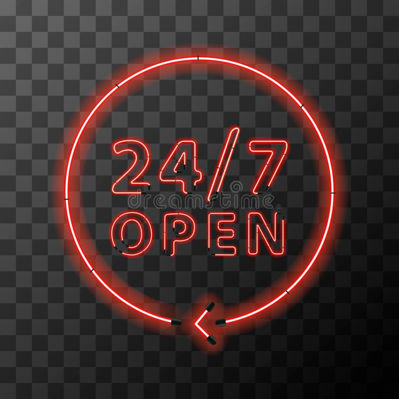 Red realistic neon around the clock sign,24 hours 7 days open royalty free illustration