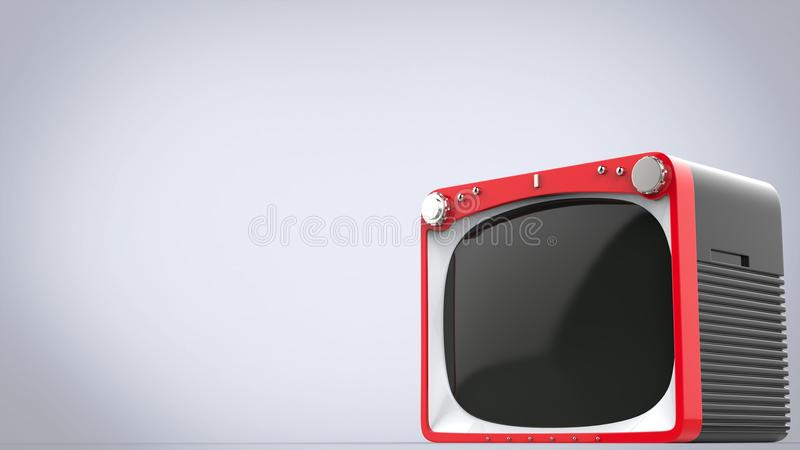 Bright red retro style TV set with black back. Panel royalty free illustration