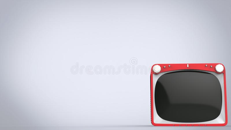 Bright red retro style TV set. On gray background vector illustration