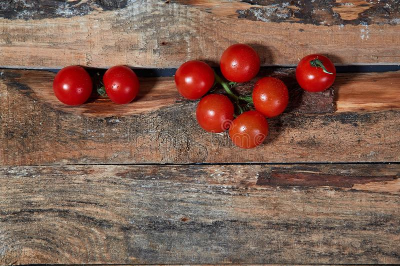 Bright red ripe tomatoes on branch covered with water drops composed on wood planks royalty free stock photo