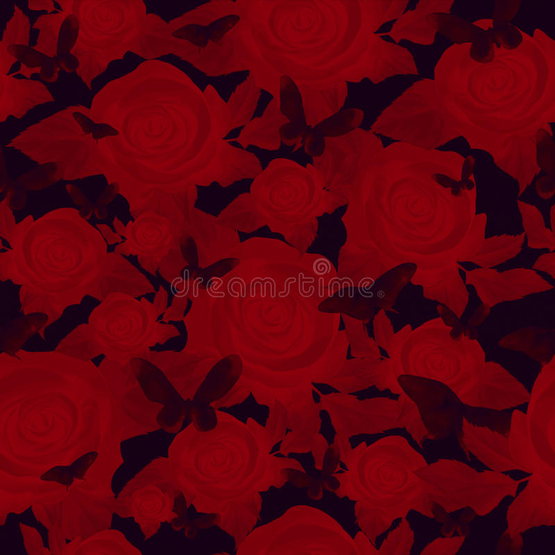 Bright red rose on a dark background, seamless pattern stock illustration