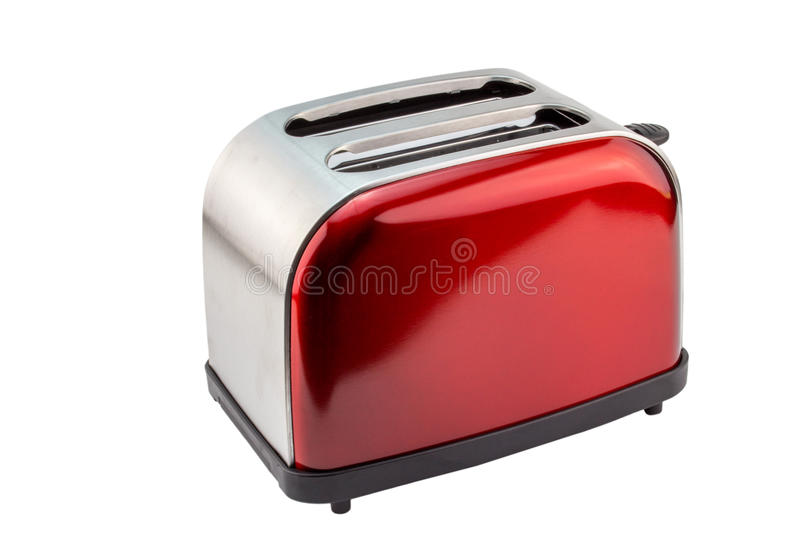Bright red shiny retro toaster isolated on white. Background stock image