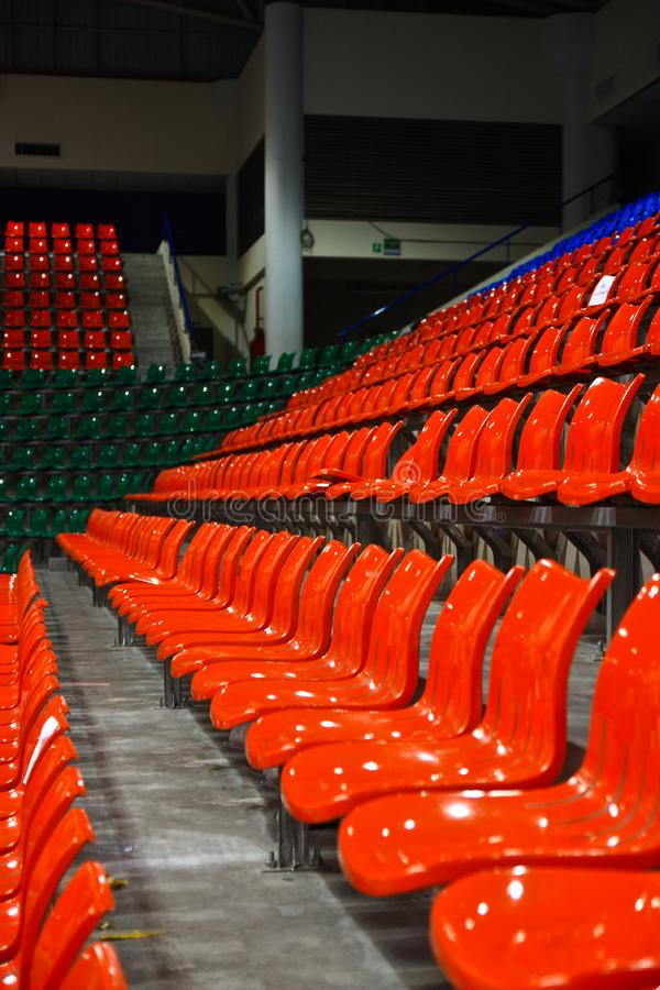 Bright red stadium seats