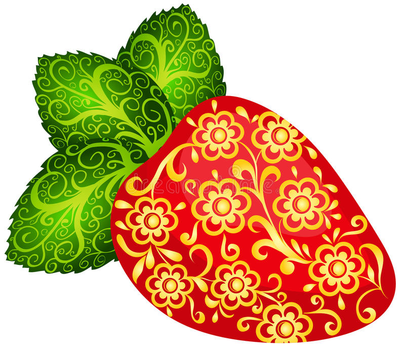 The Bright Red Strawberries Decorated With Gold Floral Pattern Royalty Free Stock Images