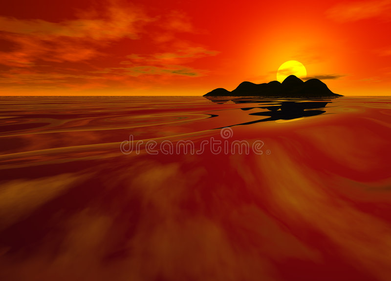 Bright Red Sunset Seascape. In Chinese Color Deep and Intense vector illustration