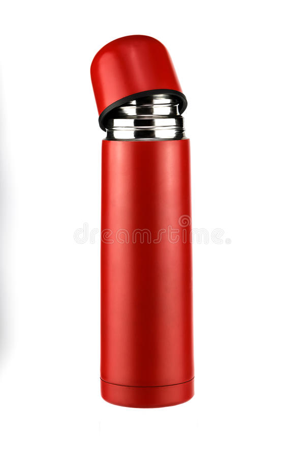 Bright red thermos parted. On a white background royalty free stock photography
