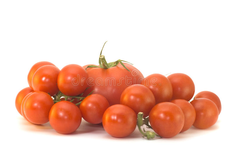 Bright Red Tomatoes Isolated On A White Background Stock Photos