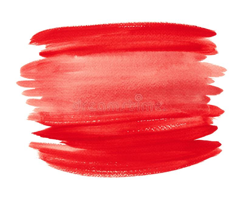 Bright red watercolor shape isolated on white background. Horizontal hand drawn red liquid ink color lines. The color splashing in the paper.  Watercolor paint stock image