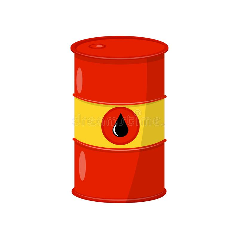 Bright red-yellow barrel with crude oil. Metal container with black drop. Flat vector element for banner or infographic. Bright red-yellow barrel with crude oil vector illustration
