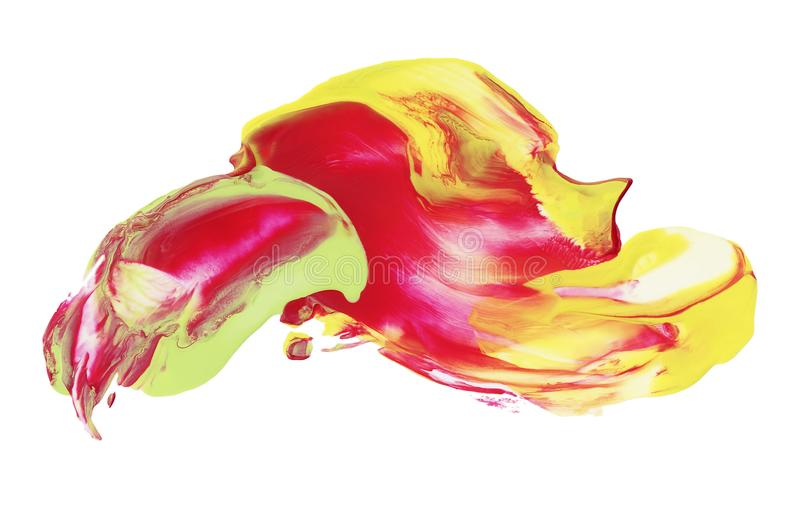 Red yellow paint flame isolated on white. Bright red yellow and light green paint isolated on white background. Abstract opaque smear paint. Paint strokes with vector illustration