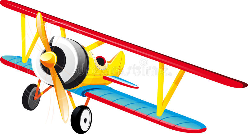 Bright retro biplane. Brightly colored retro classic biplane in flight. Isolated on white royalty free illustration