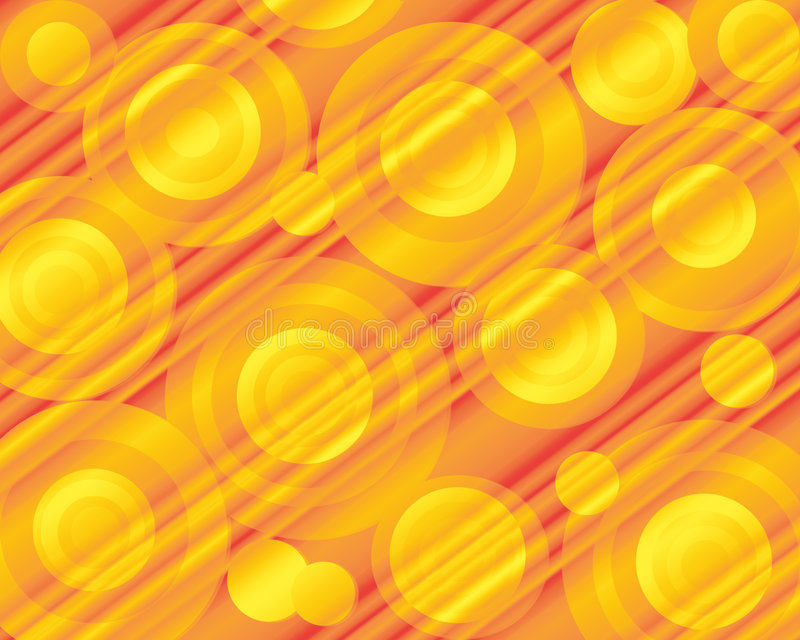 Bright Retro Circles. Fun bright background in orange and yellow tones with pattern of various sizes of retro circles and diagonal stripes stock illustration