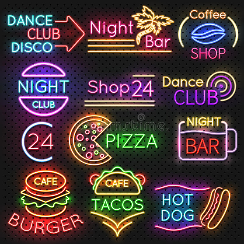 Bright roadside neon signs. Fast food and beer pub light vector icons. Hot dog and burger, tacos and pizza, vector illustration vector illustration