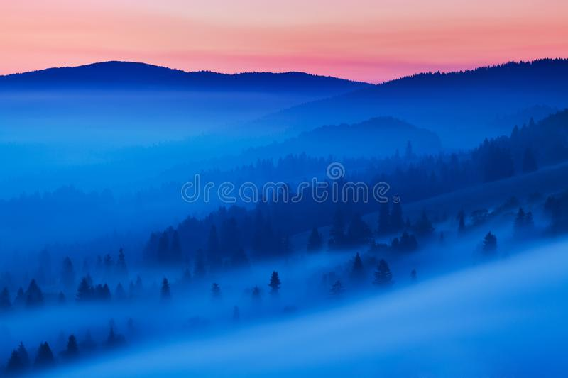 Bright rolling countryside in the evening light. Picturesque day and gorgeous scene in spring time. Carpathian mountains, Slovakia royalty free stock photo